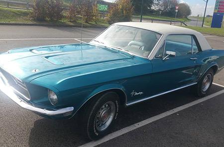 Location de notre Mustang 1968 dans l'Oise